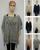 Knitted Shawl with Fringe [Diamond Knit]